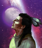 Native american and moon. Native american looking at the universe, with the moon at the background Royalty Free Stock Photo