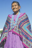 Native American Navajo woman in colorful beads and shawl, Los Angeles, CA Stock Photo
