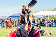 Native American Outlook, Pow Wow, Malibu, CA. Male Pow Wow dancer in colorful outfits, Pow Wow, Malibu, California royalty free stock images