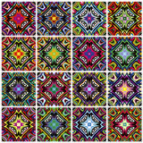 Native American patterns. Seamless textures with spiritual symbols in contemporary design, which can be rearranged countless times in endless combinations Royalty Free Stock Image