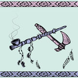 Native American Peace Pipe and tomahawk Stock Image