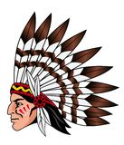 Native american people. With feathers on the head for mascot and emblems Royalty Free Stock Image