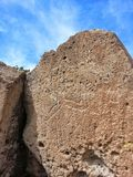 Native American petroglyph Tsankawe New Mexico. Tsankawe National Park near Royalty Free Stock Image