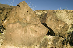 Native American petroglyphs at Petroglyph National Monument, outside Albuquerque, New Mexico Royalty Free Stock Photos