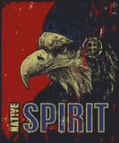 Native American poster, eagle in war bonnet Royalty Free Stock Photography