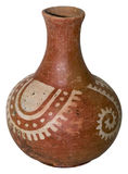 Native American pottery. A large, decorated piece of Native American pottery.  White background Stock Photo