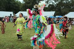 Native American pow wow dancers royalty free stock photo