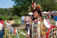 Native American Pow Wow. This photograph is of a man dancing at a Pow Wow in Inwood Park, Manhattan, May 20, 2012 Stock Photos