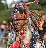 Native American Pow Wow. This photograph is of a man at a Pow Wow in Inwood Park, Manhattan, May 20, 2012 Royalty Free Stock Photo