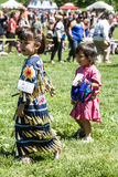 Native American Pow Wow. This photograph is of a two young girls dancing at a Pow Wow in Inwood Park, Manhattan, May 20, 2012 stock images
