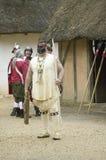 Native American reenactor at James Fort, Stock Photo
