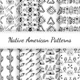 Native American Seamless Patterns Set Royalty Free Stock Photo