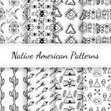 Native American Seamless Patterns Set Royalty Free Stock Photo