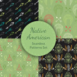 Native American Seamless Patterns Set Stock Images