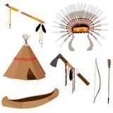 Native American Set Six Icons Stock Image