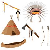 Native american set six icons Stock Image