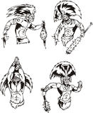 Native American Shamans. Native American Indian Shamans. Set of black and white vector illustrations Stock Image