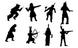 Native American Silhouettes Stock Photography