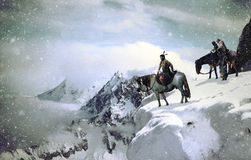 Native american into snowy landscape. Several native americans, A man and his horse, and a woman close to a child and an old man on a mule, into a snowy and Stock Photography
