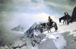 Native american into snowy landscape stock illustration