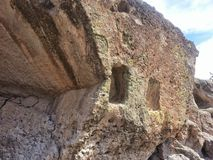 Native American spiral petroglyph Tsankawe New Mexico Royalty Free Stock Photo