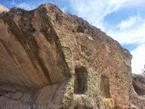 Native American spiral petroglyph Tsankawe New Mexico. Tsankawe National Park near Royalty Free Stock Photo