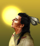 Native american and sun. Native american with closed eyes, enjoying the warmth of the sun Royalty Free Stock Images