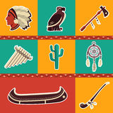 Native american symbol icons. American indian icons. Editable vector set Stock Photo