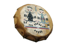 Native American Tamborine. Native American indian music tamborine with decorated leather Royalty Free Stock Images
