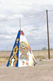Native american tipi or teepee. Colored tipi or teepee from native american with designs in the fields of Arizona, USA, specimen of the contrasting American royalty free stock image