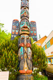 Native American Totem. Ketchikan, AK, USA - May 24, 2016: Native American Totems and Clan Houses located at Totem Bight State Historic Site stock photo