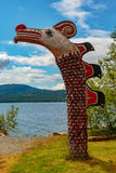 Native American Totem. Ketchikan, AK, USA - May 24, 2016: Native American Totems and Clan Houses located at Totem Bight State Historic Site stock image