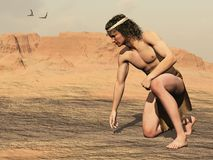 Native American tracker. Native American Indian tracker in headband and loincloth stoops to examine sign on the ground royalty free illustration