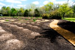 Native American traditional Three Sisters Spiral Garden stock images
