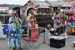 Native american tribal group playing music Royalty Free Stock Photos