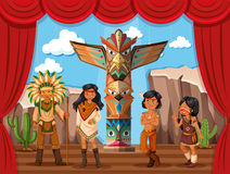 Native american tribe on stage Royalty Free Stock Images