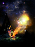 Native american and Universe. Native american couple close to a fire, observing how the flames seem to become stars in the sky stock illustration