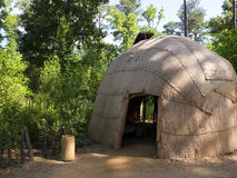 The Native American village at Historic Jamestown on the James River where the earliest European settlers established their first stock image