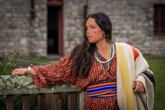 Native American-Vrouw van recente 1700s stock afbeelding