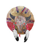 Native American war shield isolated. Buffalo hide Native American war shield, painted and decorated.  From the Cherokee.  Isolated on white Royalty Free Stock Image