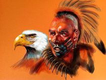 Native american white eagle Stock Image