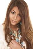 Native american white top close smile Stock Photo