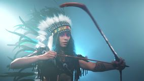 Native American woman is anxious stock video footage