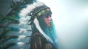 Native American woman on blue background stock video