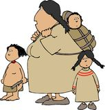 Native American woman and children Royalty Free Stock Photo