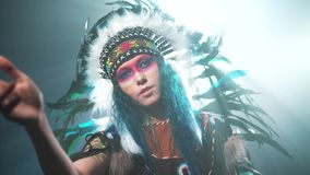 Native American woman conjuring stock video
