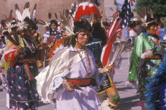Native American woman in full costume performing Corn Dance ceremony in Santa Clara Pueblo, NM Royalty Free Stock Images