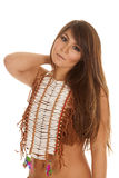 Native American Woman Hand Shoulder Beads Serious Royalty Free Stock Photos