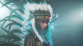Native American woman isolated on blue background stock video footage