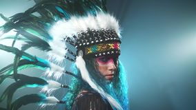 Native American woman isolated stock video footage